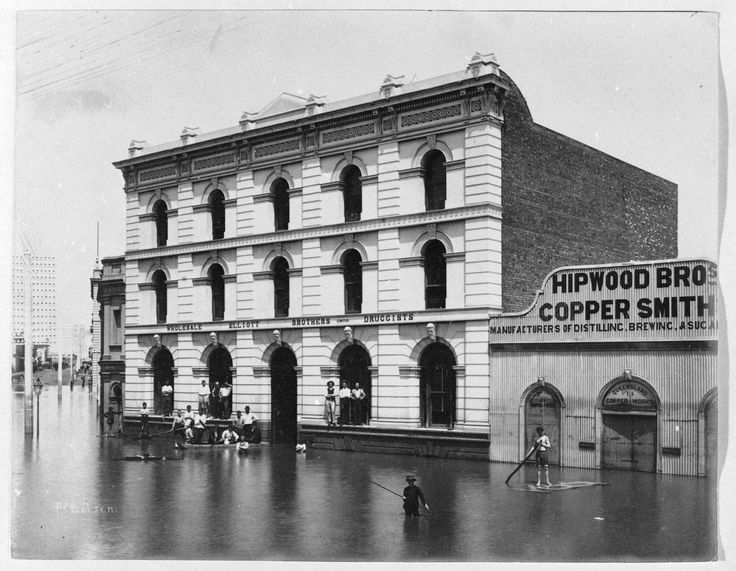 Flooded street in Brisbane,Queensland,Australia ca. 1893.A♥W