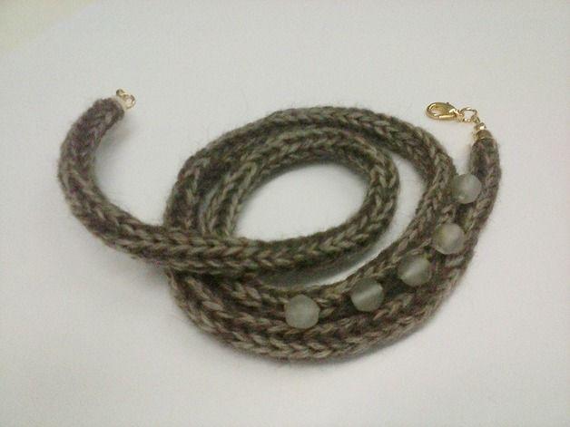 Braccialetto tricotin marrone melange in lana