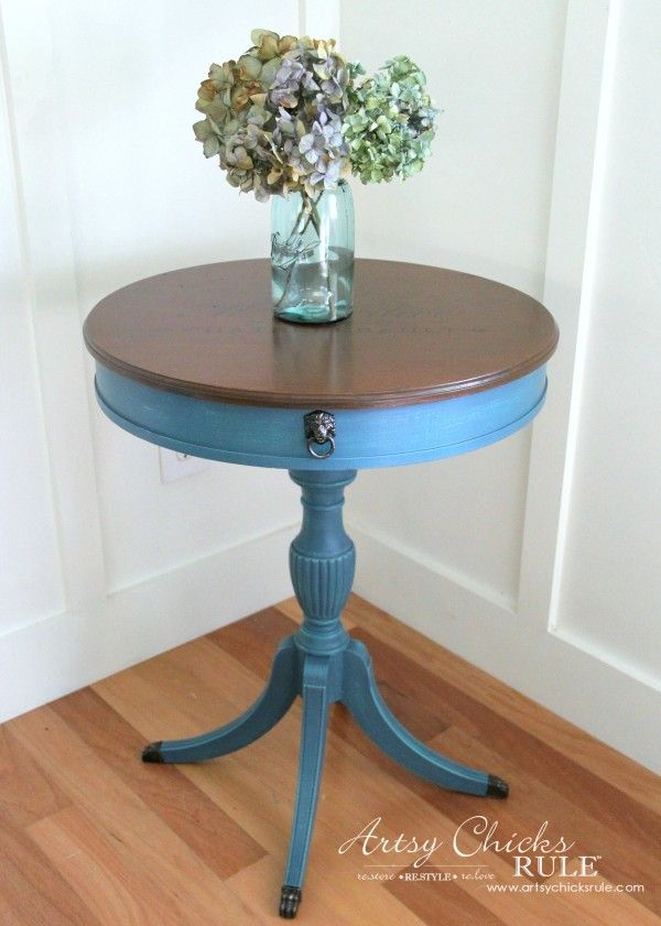 French Table Makeover - SIMPLE makeover - artsychicksrule #aubussonblue #chalkpaint #frenchdecor