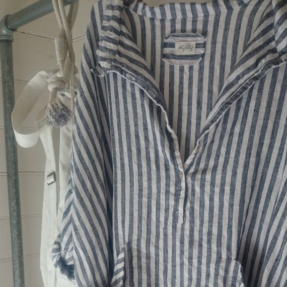 Navy and White Striped Linen Dress One size Fits by MegbyDesign
