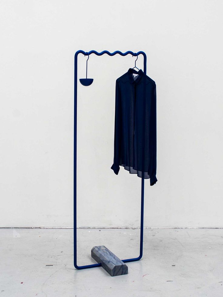 Incredible powder-coated aluminum coat racks with marble bases / SINE Collection Coatstand // Designers Erik Olovsson and Kyuhyung Cho