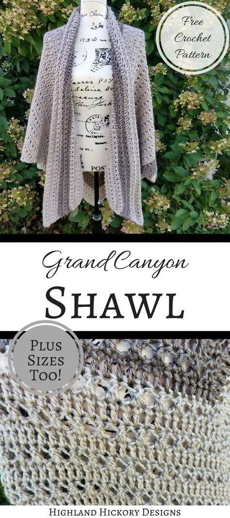 Crochet the Grand Canyon Shawl with this free pattern! There is a photo tutorial for the stitches required to make this V-shaped wrap. It is intermediate.