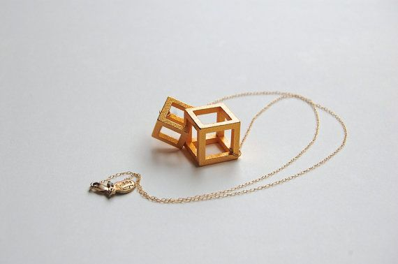 Cube Theory: 3d printed jewelry // gold plated steel by LanaBetty