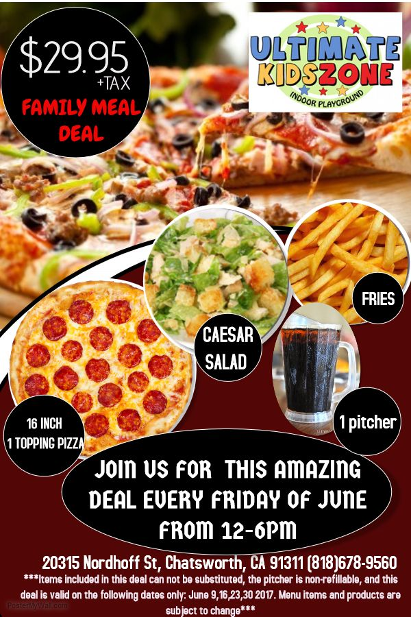 Our Family Meal Deal is going on TODAY, Friday, June 9th.  #UltimateKidsZone  Special: 5 Room Open Play: Wednesday June 14th from 3-7pm Regular Open play schedule: Wednesday-Friday 12-7pm P.S. Delicious Food Available!  www.ultimatekidszone.com  20315 Nordhoff St. Chatsworth CA Questions, Call (818) 678-9560