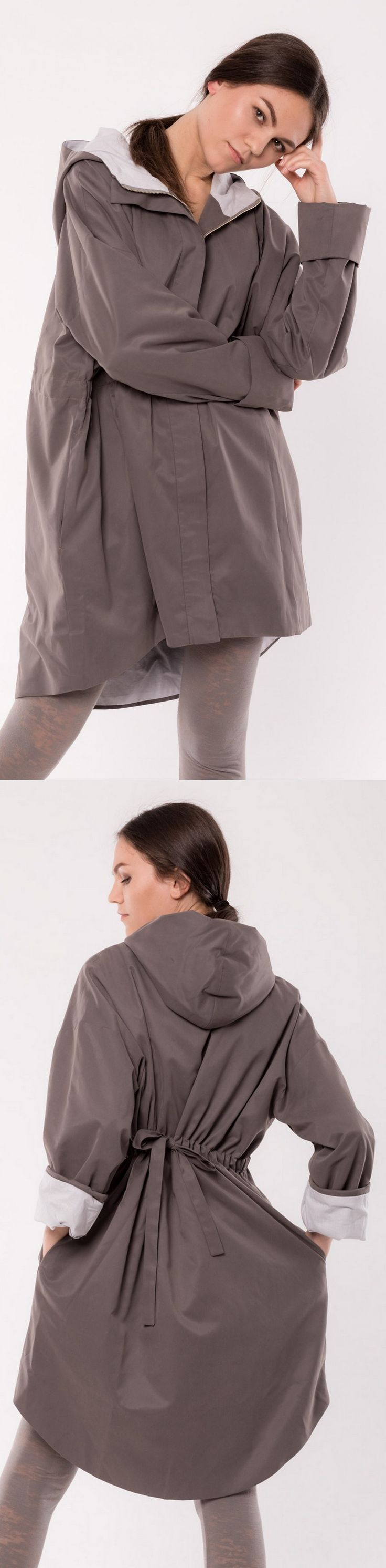 Fludra Slow Fashion oversize waterproof trench coat, designer Anna Fludra