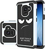 #8: Galaxy A8 2018 CaseSamsung Galaxy A8 2018 Case[Shock Absorption] Dual Layer Heavy Duty Protective Silicone Plastic Cover Rugged Phone Case for Samsung Galaxy A8 2018 (don't touch my phone)