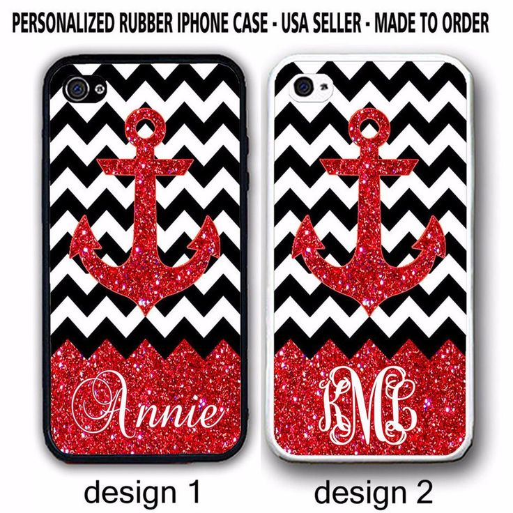PERSONALIZED RED ANCHOR BLACK WHITE CHEVRON MONOGRAM CASE For iPhone 7+ 6S SE 5S #UnbrandedGeneric