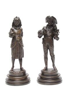 Auguste Louis Lalouette (1826-1883) - A pair of bronze statues - France - 2nd half of 19th century