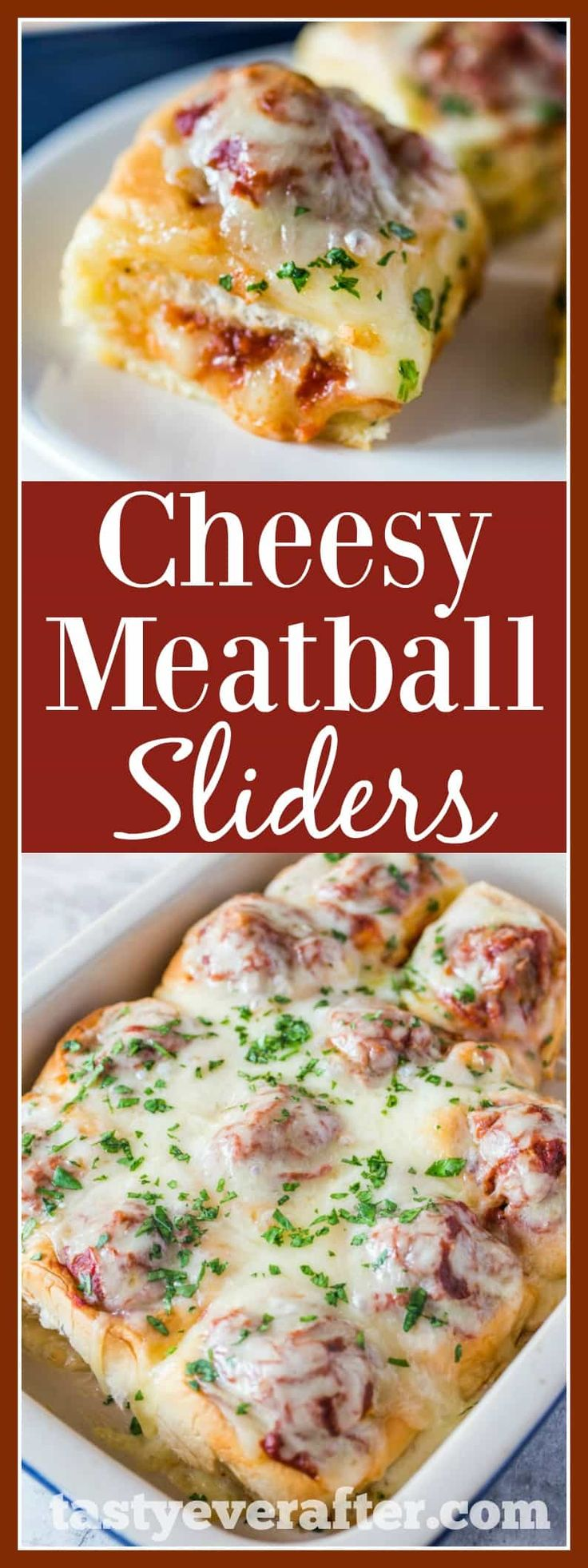 Cheesy Meatball Sliders #Recipe are made with homemade meatballs and marinara sauce nestled in Hawaiian sweet rolls and topped with 2 different kinds of Italian cheese. #AD