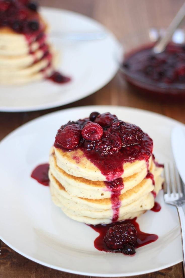 Paleo Pancakes (nut-free) with Triple Berry Compote