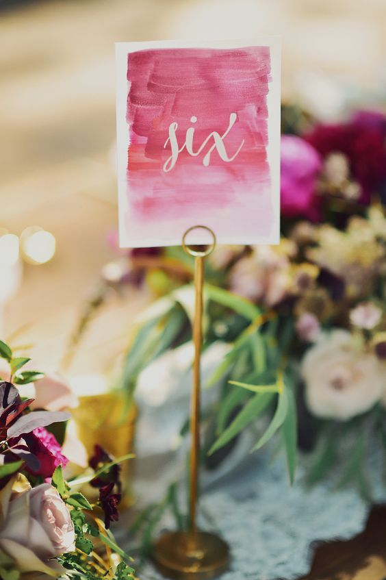 Watercolor table number idea / http://www.himisspuff.com/wedding-table-numbers-centerpieces/2/
