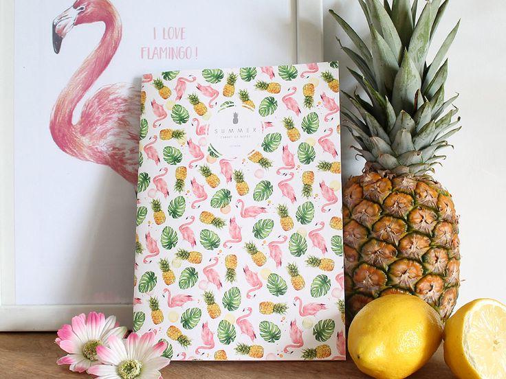 Cahier A5 Flamant rose , Ananas Tropical