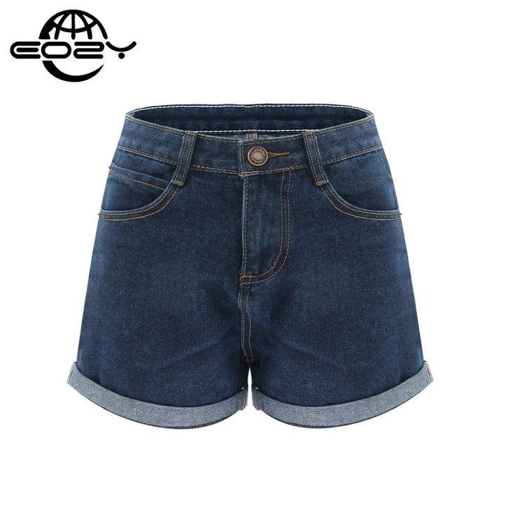 Más el Tamaño de Cintura Alta Pantalones Cortos de Mezclilla De Las Mujeres Ocasionales Azul Diseño Femme Short Jeans 2016 Verano Pantalones Cortos de algodón 2 colores