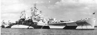 USS Quincy (CA-71) in camouflage pattern during WWII was a Baltimore class heavy cruiser of the US Navy. (google.image) 01.18