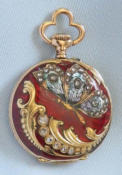 Enamel Diamond Pendant Watch - Bogoff Antique Pocket Watch # 8028