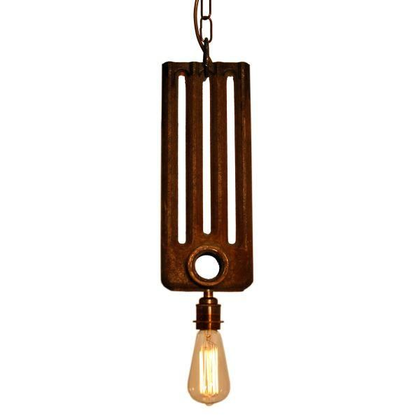 The Mullan Rad pendant light is manufactured in Ireland.This quirky fitting is manufactured from antique radiator parts and looks great when lit with an Edison squirrel cage bulb.