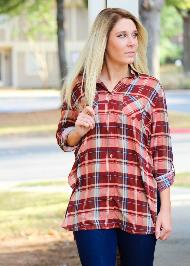 This Brick Plaid Tunic is the perfect top to wear under your favorite vest this fall and winter! The length makes it also the perfect tunic to wear with leggings and boots. It is cute, flattering, and