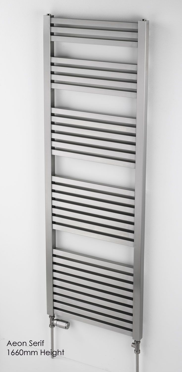 The Aeon Serif towel rail is manufactured from Stainless steel therefor is suitable for all heating systems. The distinctively architectural lines of this towel rails chunky rows and dramatic columns give it an enduring, no-nonsense appeal. Performance and durability guarenteed. Available as standard central heating, electric only and dual fuel and in a brushed or polished stainless steel finish. Complete with a 20 year guarantee. Prices start from £447.72!