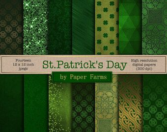 St. Patrick's Day, digital paper, scrapbook paper, celtic digital paper, Irish, green digital paper, green glitter, instant download