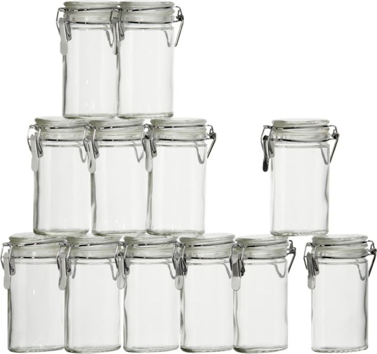 Set of 12 Mini Oval Spice-Herb Jars with Clamp  | Crate and Barrel