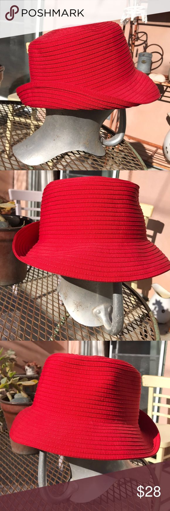 San Diego Hat Co 7.5 60 cotton, 40 poly, perfect Is stored in hat box, worn one time, no fading, mars of any kind. Can flip brim up or down, Red Fashion Bucket Hat San Diego Hat Company Accessories Hats