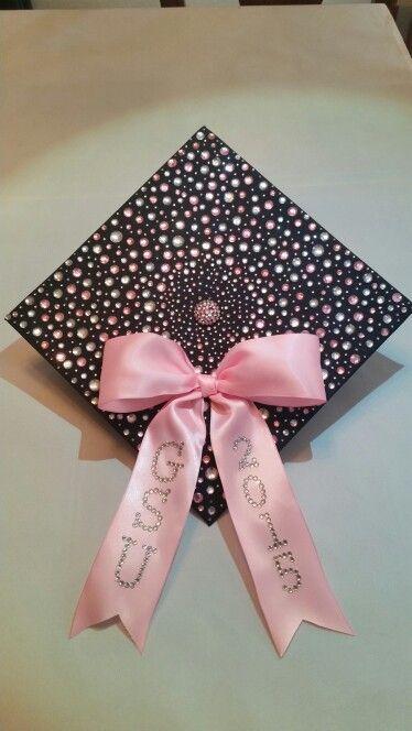 Pink/clear rhinestone graduation cap design