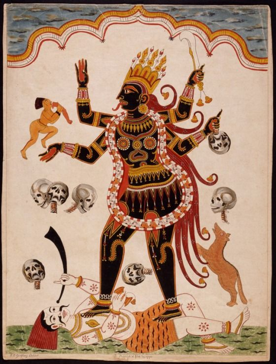 """Kali. """"He was right to call on Kali. To recognize the riots as her work. Goddess of fertility and birth and destruction, her womb a void, an abyss, Kali was the fierce, fiery Mother of all."""""""