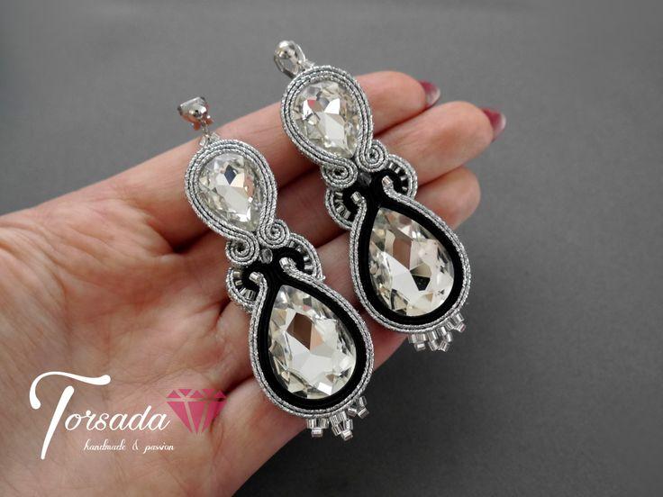 TORSADA - kolczyki srebrno czarne z kryształkami i cyroniami wieczorowe sutasz / silver long soutache earrings with crystals dangle