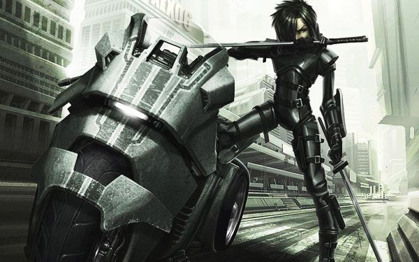 Cyberpunk Motorcycle ninja girl