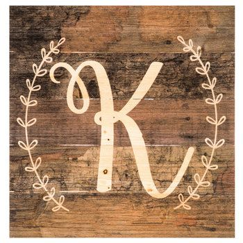 Monogram Letter Wood Wall Decor - K