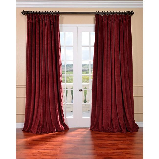 Exclusive Fabrics Burgundy Velvet Blackout Extra Wide Curtain Panel (96-Inch), Red, Size 100 x 96 (Cotton, Solid)