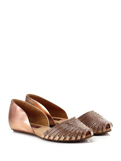 Carrano - Scarpa bassa - Donna - Scarpa bassa in pelle laminata con applicazione strass e suola in gomma. - RAME - € 159.00