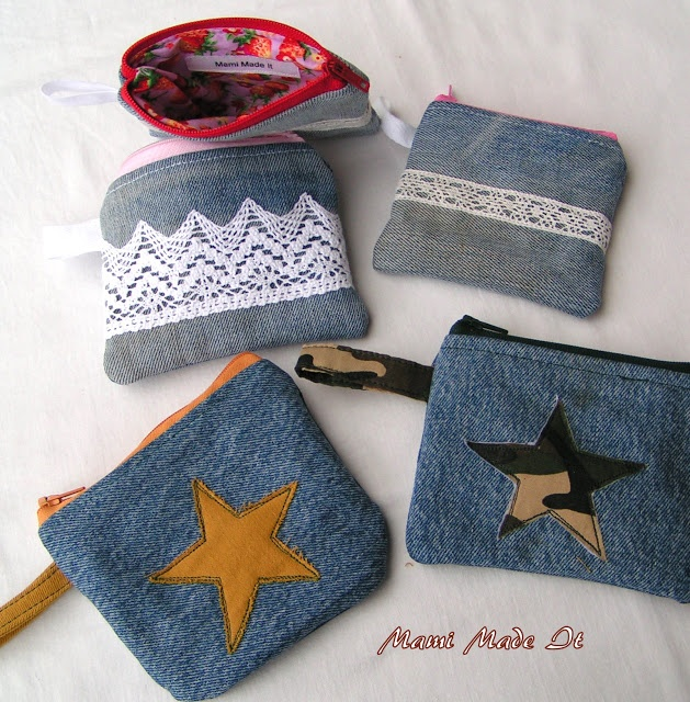 Denim coin purses - page has lots more photos of different denim bags, too :)