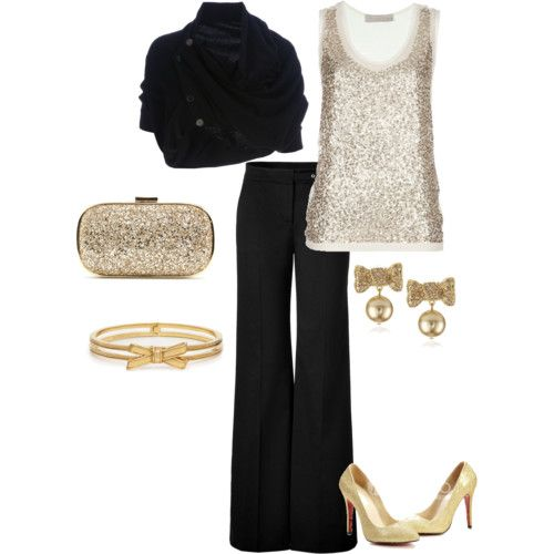 A good idea for a New Year's Eve party outfit, though I'd change the earrings & bracelet for something better:) -Missy