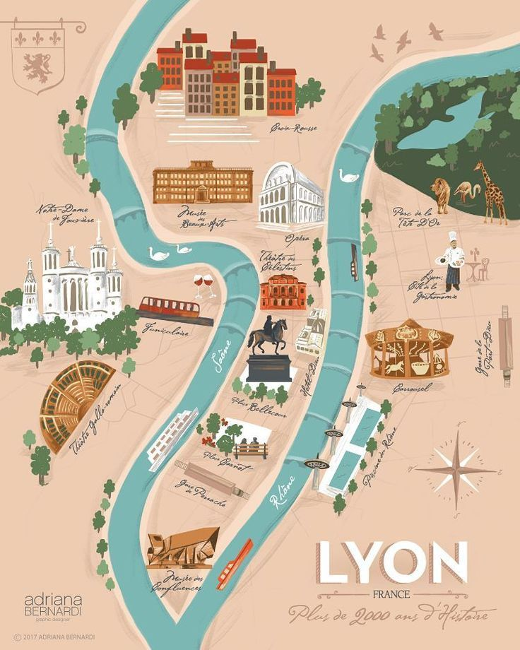 My First Illustrated Map For The Beautiful Lyon It Was A