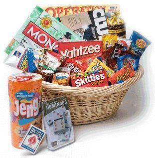 Family Game Night Basket for Silent Auction Gift basket Ideas #giftbasketideas #giftbaskets