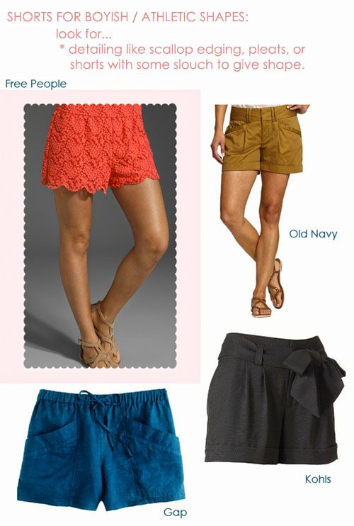 shorts for rectangle body shape - Google Search