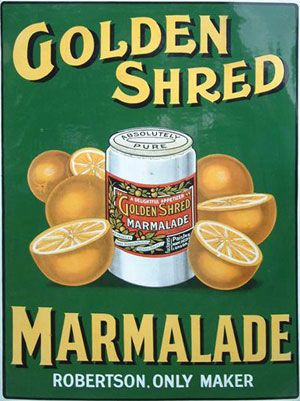 Robertson's Golden Shred Marmalade Enamel Sign, 1910