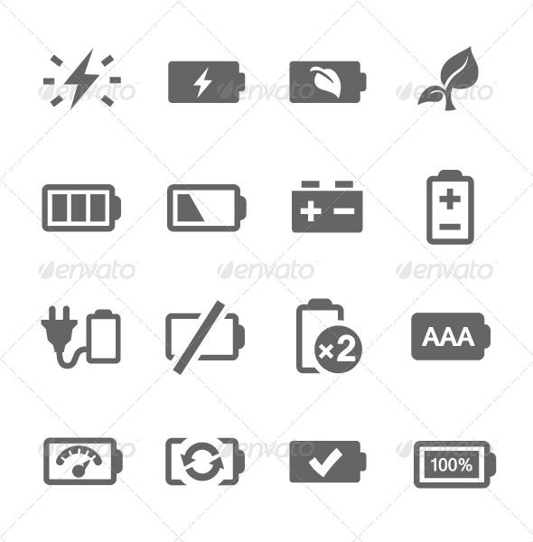 Battery Icons by davooda Simple set of battery related vector icons for your design.