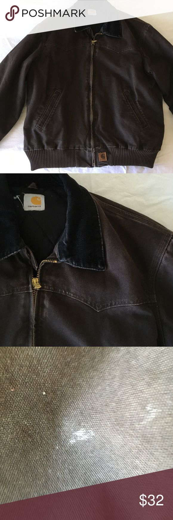 Brown carhartt jacket 20% off bundles and excepting all reasonable offers! The only flaw is the stain shown in last picture. Carhartt Jackets & Coats