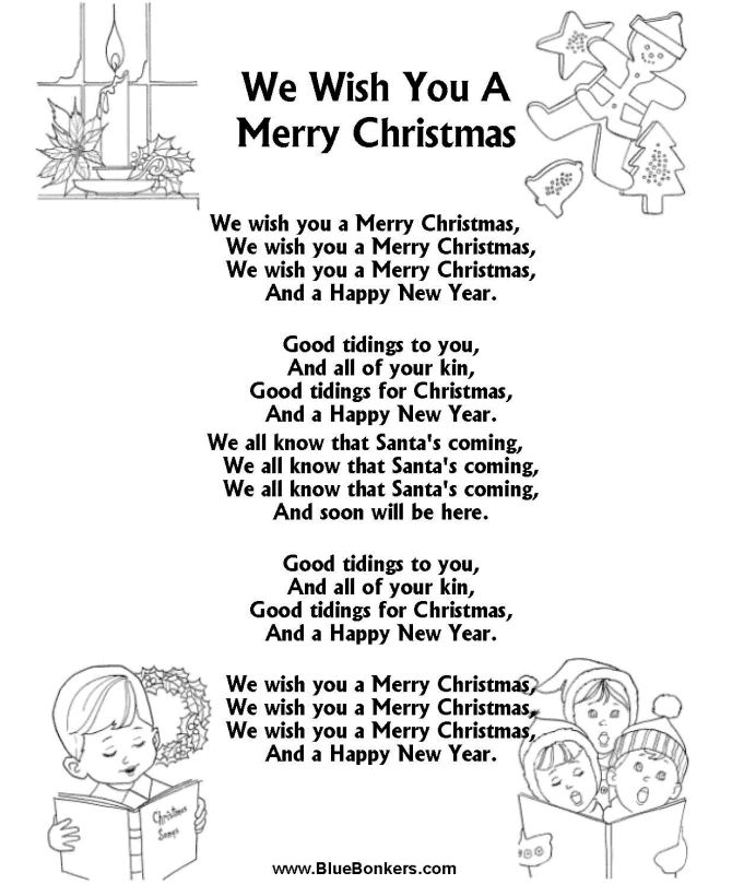"Free Printable words for ""we wish you a merry christmas"" 