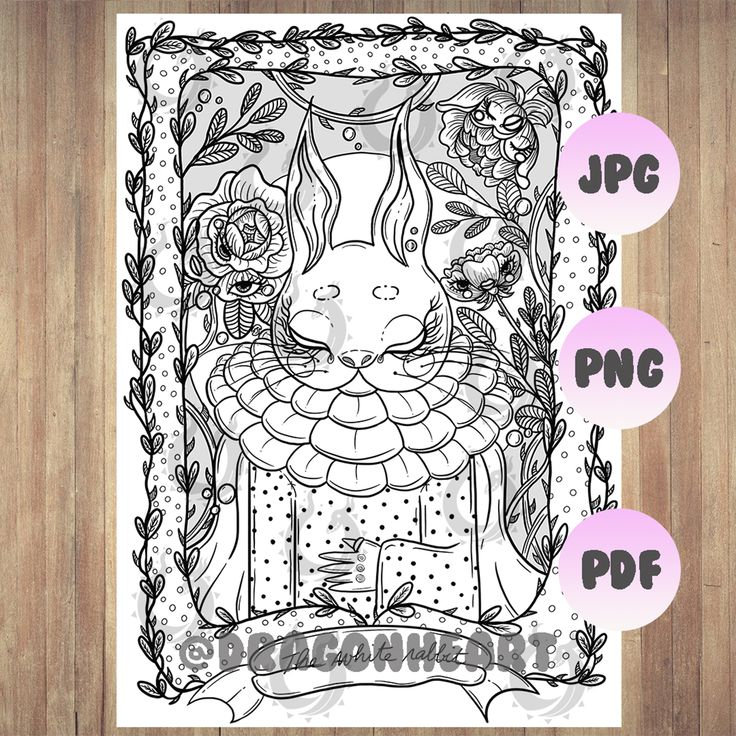 """""""The White Rabbit"""" Coloring Page PDF in 2020   Rabbit ..."""