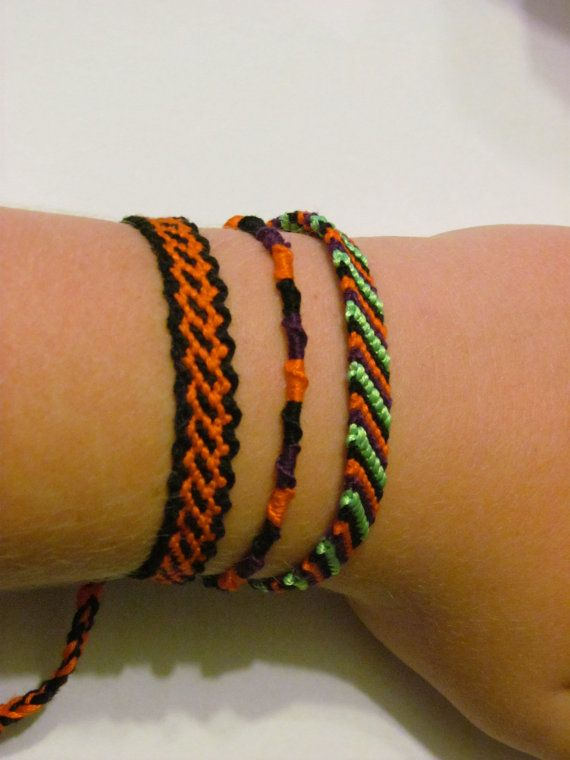 This is a Halloween bracelet with 3 different kinds of bracelets.  Candy Stripe(4 colors): Black, Purple, Orange, Ne Green*  Chinese Staircase (3 colors): Black, Orange, and Purple  Link: Orange (inside) and Black (outside)  If you would like any of these bracelets separately, please order them from the custom links. They are all 9.5 inches long and should fit wrists from 7.5 to 9.5  Happy Halloween!!!!    *The Neon Green isnt DMC thread (which is 100% cotton) it is mostly Polyester.