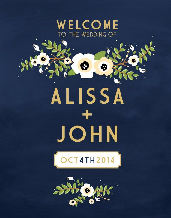 Wedding Chalkboard Poster Welcome Sign . Vintage by BuffyWeddings