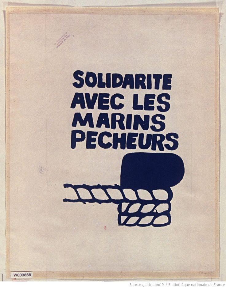[Mai 1968]. Solidarité avec les marins pêcheurs. Comité d'occupation de l' ex Ecole des Beaux-Arts : [affiche] (Variante d'encre : impression en bleu) / [non identifié]