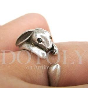 Miniature bunny rabbit ring in silver