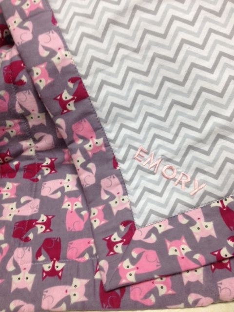 Self binding flannel baby blanket - fox print and chevron - from JoAnns fabric Machine Embroidery personalization