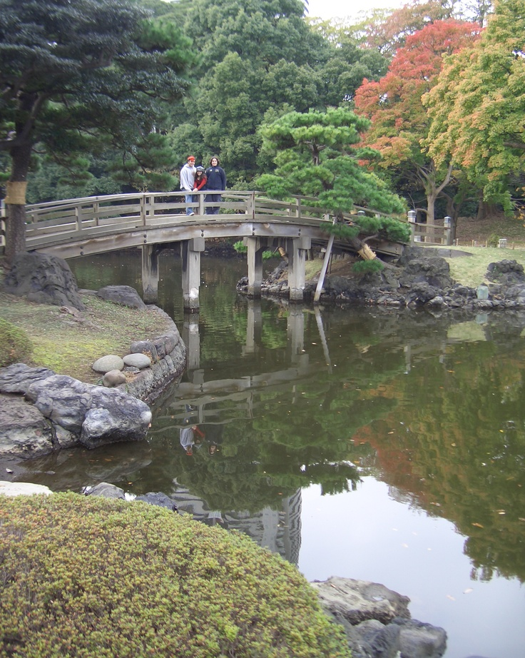 Hama-rikyu Gardens, Chūō, Tokyo, Japan .  The park is surrounded by a moat filled by Tokyo Bay and was once the site of a villa belonging to the Shogun Tokugawa family in the 17th century.