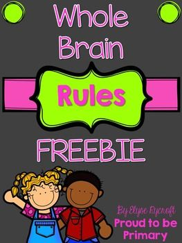 This set of FREE Whole Brain Rules are perfect for displaying in your classroom, on the wall or in frames. It has 5 posters (one for each rule). The rules I have chosen are a fun variation on the whole brain rules that myself and my students love. It goes great with actions!This is perfect for any grade using whole brain rules in the classroom.