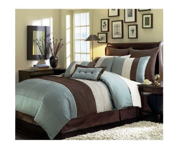 bedding sets twin for teens boys comforter bed in a bag blue beige brown 6 pc
